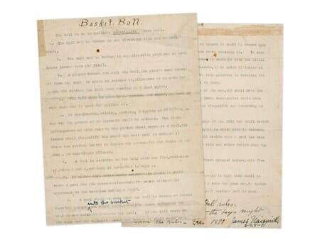Imagem das 13 regras originais do Basquete escritas por James Naismith
