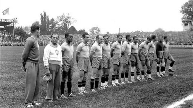 Copa de 38: Imagem da Seleção Brasileira na Copa do Mundo em 38.