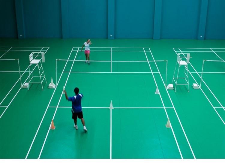 A quadra oficial de Badminton